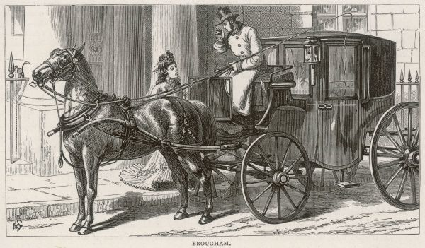A lady gives instructions to her coachman before entering her brougham