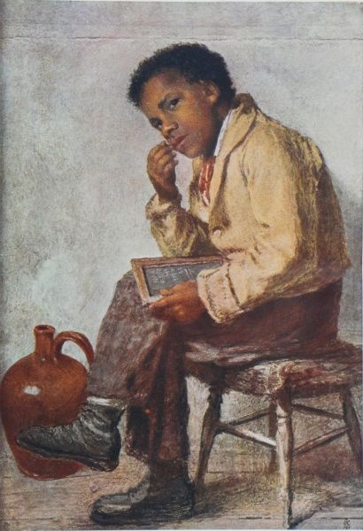 Illustration of a young boy sitting with a slate
