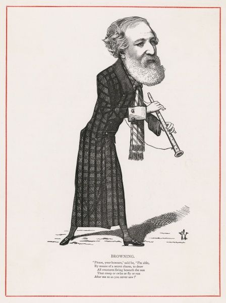 ROBERT BROWNING writer, depicted as the Pied Piper of Hamelin