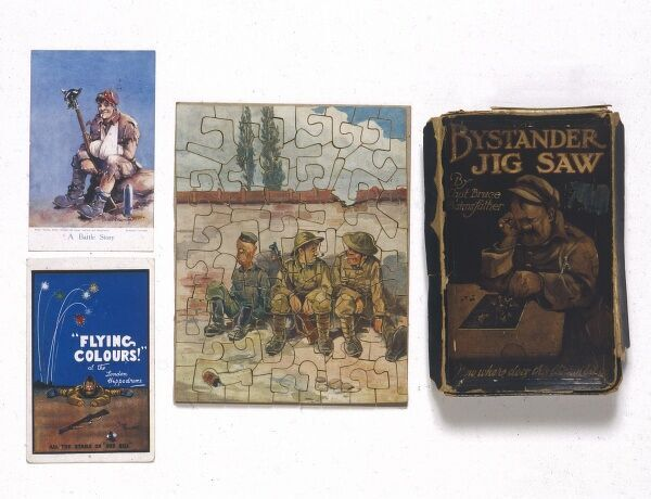"Selection of items featuring illustrations by the famous World War One cartoonist, Bruce Bairnsfather including a jigsaw with Bairnsfather's curmudgeonly soldier character Ole Bill grumbling on the front of the box, ""Now where does"