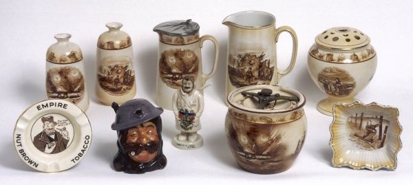 A selection of pottery manufactured by the firm Grimwades of Staffordshire, featuring the designs of Bruce Bairnsfather, the artist whose cartoons featured in The Bystander during World War I
