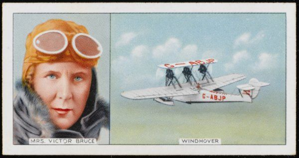 The Hon Mrs Victor Bruce, British aviator, and her Windhover in which she was the first person to fly from England to Japan