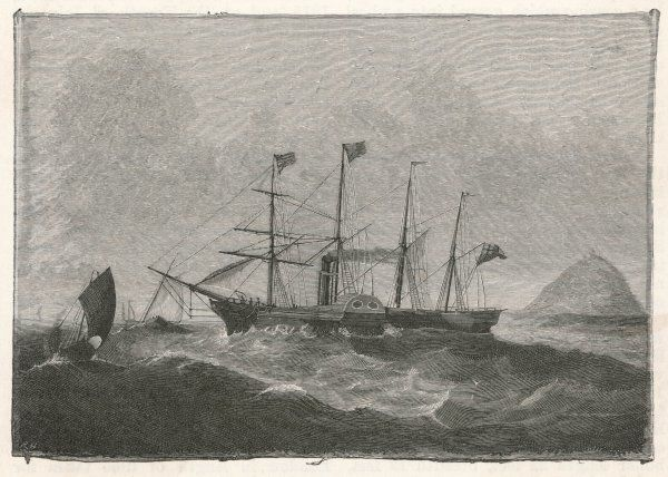 Brunel's steamship, the SS Great Western, at sea. Her maiden voyage, from Bristol to New York, took place in 1838