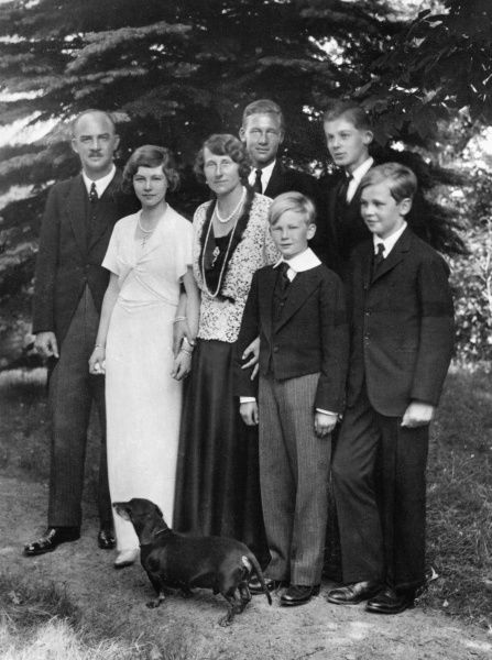 Princess Viktoria Luise, the Kaiser's only daughter, with her husband Ernst August, Duke of Brunswick and their children (l to r) Friederike, Ernst August, Welf Heinrich, Georg Wilhelm and Christian, c. 1935