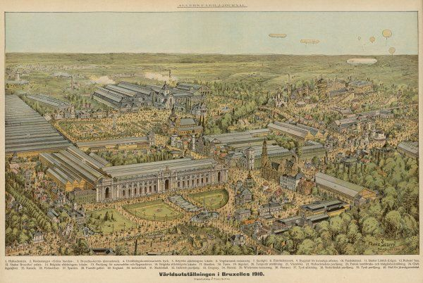 Balloonist's-eye view of the World Fair at Brussels