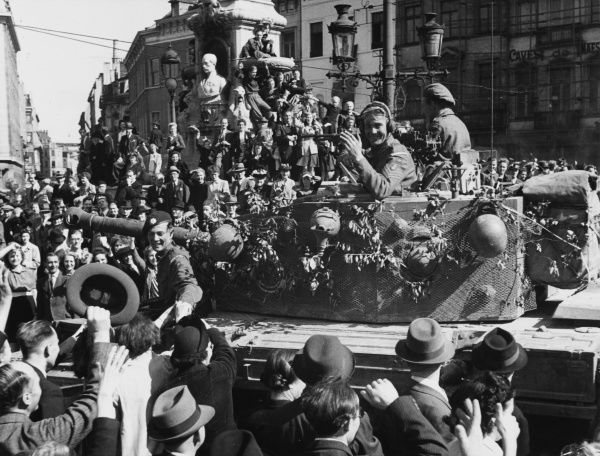 The people of Brussels gave British and Belgian troops a tremendous welcome during World War II when the city was liberated Date: September 1944