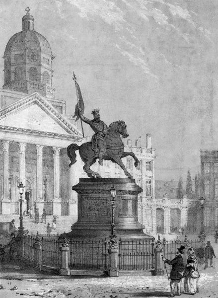 Brussels: Place Royale, with the equestrian statue of Godefroi de Bouillon Date: circa 1840