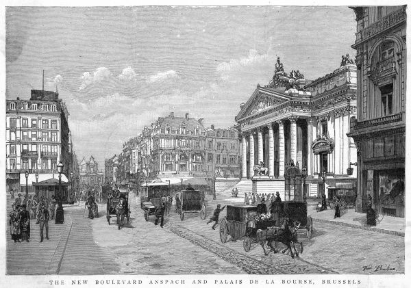 Street scene - the boulevard Anspach and the Bourse : the Grand'Place is nearby and about a thousand restaurants