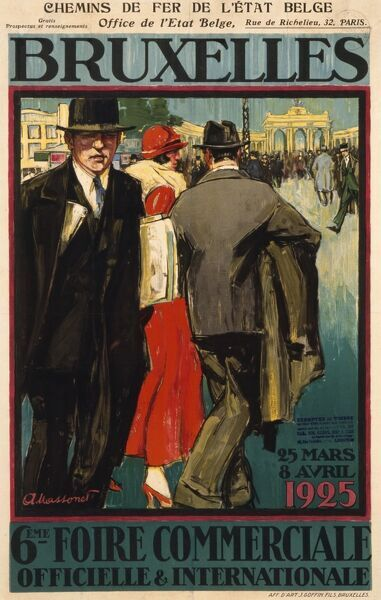 Poster advertising a large trade fair in Brussels, Belgium in 1925 featuring purposeful looking businessmen and women walking around the city
