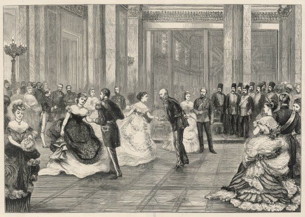 A State Ball at Buckingham Palace - Oriental guests look on with astonishment at a Royal Quadrille