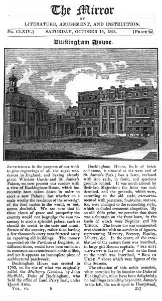 Buckingham House, shown in 1825 before it was rebuilt. Date: 1825