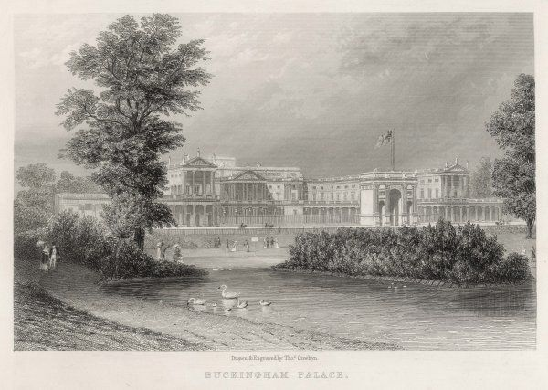 The Palace, with Nash's improvements completed, seen from St James's Park, with the Marble Arch which stood before it from 1827 to 1851