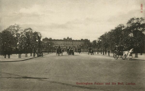 Buckingham Palace, London - viewed straight on looking down The Mall - pictured prior to re-modelling