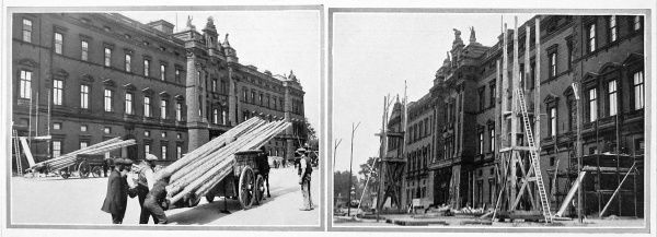 Photographs showing two views of the facade of Buckingham Palace as scaffolding began to rise for the renovation of 1913. That year the whole of the facade was re-faced with white Portland stone