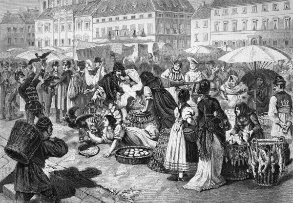 The Poultry Market at Pest (as in Budapest). Date: 1877
