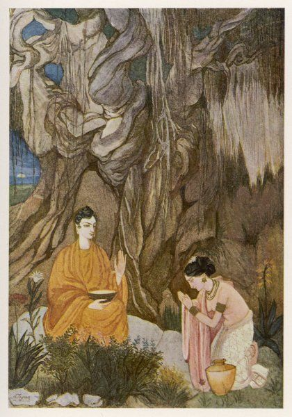 SIDDHARTHA GAUTAMA, known as the BUDDHA ('Enlightened One') He is entertained by Sujata, daughter of a village lord, who prepares very special foods to nourish him