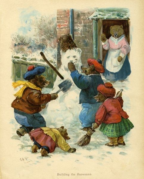 Building the Snowman -- a family of bears, watched by their mother from the doorway, put the finishing touches to a snowman (or rather snow bear).  early 20th century