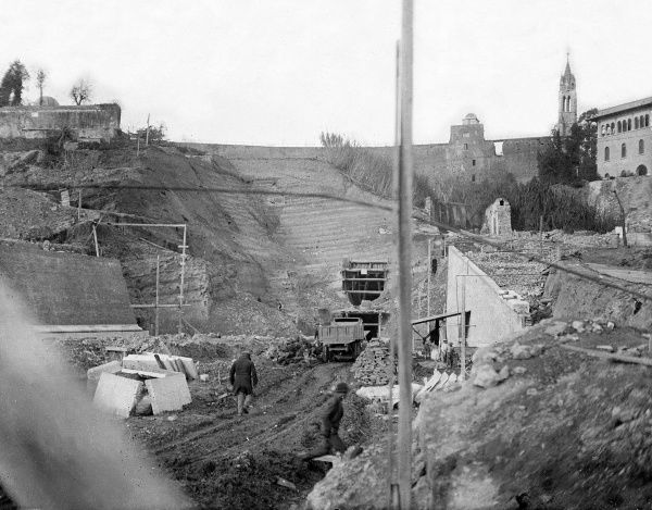 Tunnelling works at Vatican City, Rome, Italy, to connect the area with the Italian State Railway. Date: 1930s