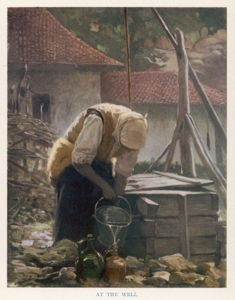 Bulgaria : a peasant woman fetches water from the well