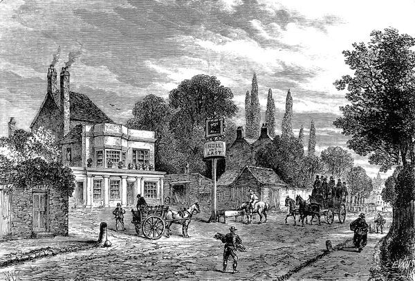 Engraving showing the 'Bull and Last' Public House in Kentish Town, during the 19th century