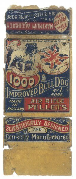 A Bulldog, holding a British flag in its mouth, depicted on a box of 'Improved Bull Dog Air Rifle Pellets'. Date: ca 1900