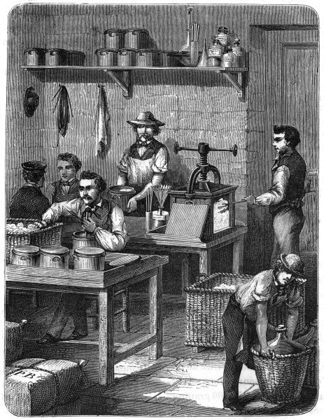 Gun-cotton is prepared by soaking in acid at the Woolwich Arsenal munitions factory Date: 1873