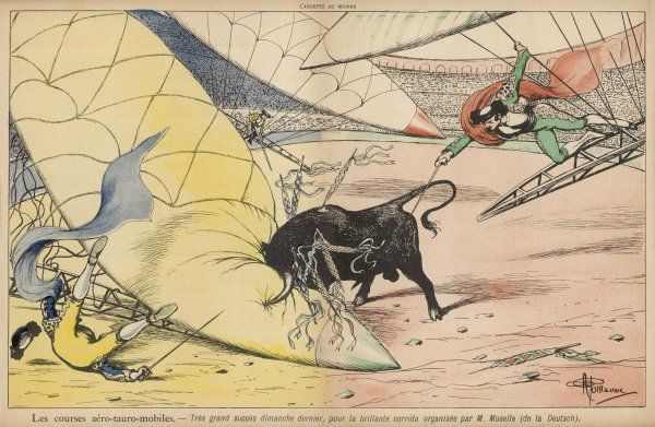 The use of flying machines could introduce a new excitement to the bullfight arena