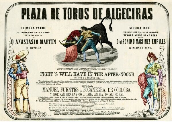 A poster for a bullfighting show at Algeciras, Spain, with a rather superb section of English translation!