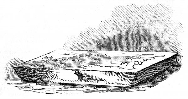 Engraving of a bar of gold, a small slab weighing sixteen pounds, worth about 800 in 1845&quot