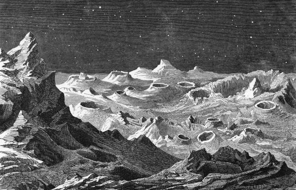 The craters of extinct volcanoes testify to the violent past of the Moon. Date: circa 1880