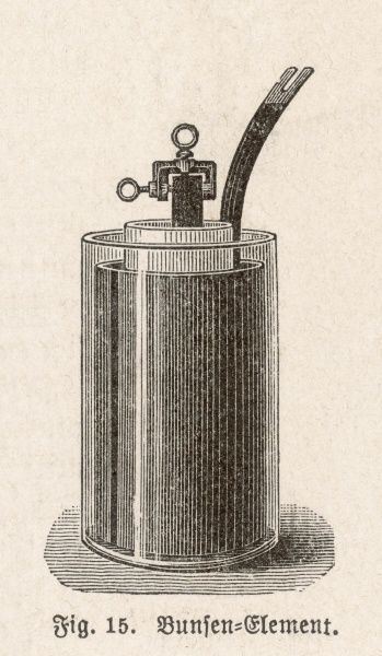 BUNSEN'S CELL A carbon-zinc electric cell invented by Robert Bunsen in 1841