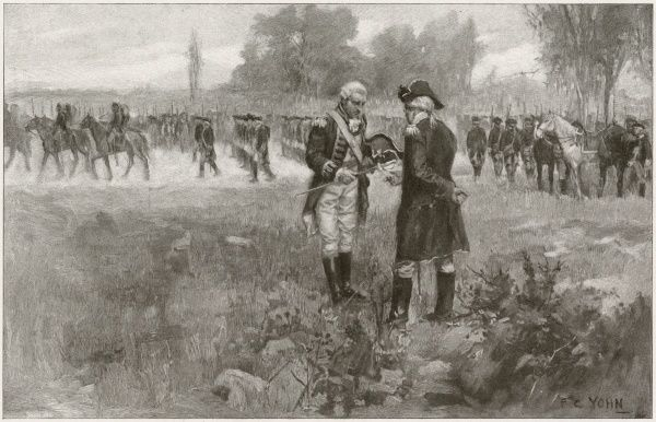 General Burgoyne surrenders at Saratoga, handing his sword over to General Gates