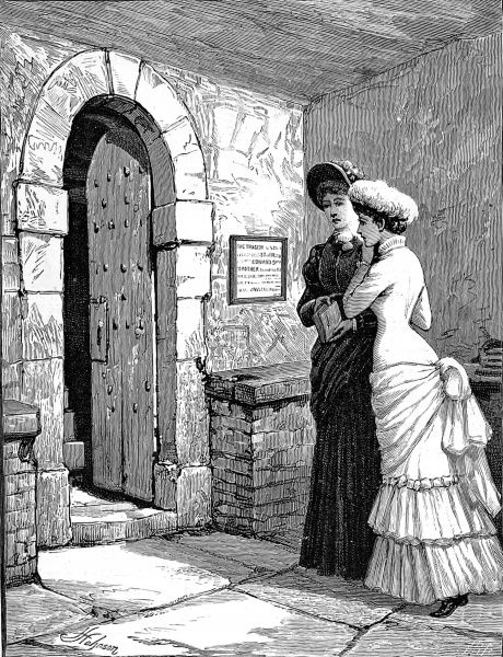 Engraving showing two Victorian visitors to the Tower of London looking at the stairway where the bodies of two boys, presumed to be the 'Princes in the Tower', were found buried, 1885