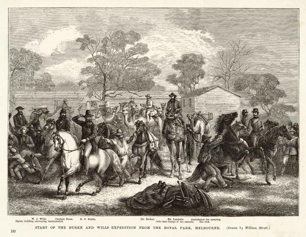 Robert O'Hara Burke and W. J. Wills were the first men to cross Australia from south to north. The start of the expedition from the Royal Park, Melbourne