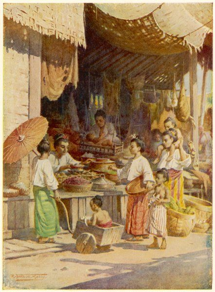 Mothers with their children shopping in a Burmese bazaar
