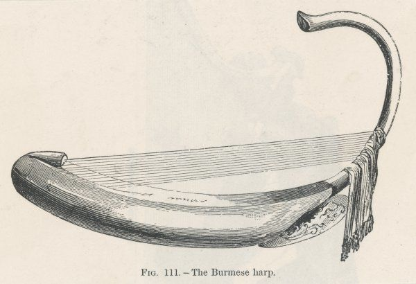 The Burmese Harp, an easily portable instrument, featured in a memorable Japanese film, 'The Burmese Harp' Date: 19th century