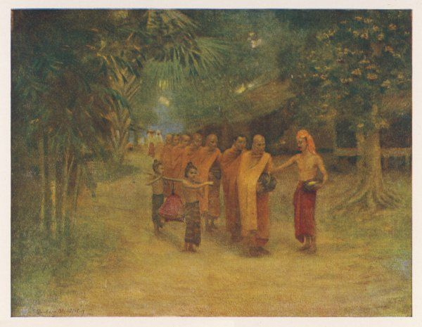 A group of monks pass through a Burmese village, begging for food, which two small children carry for them