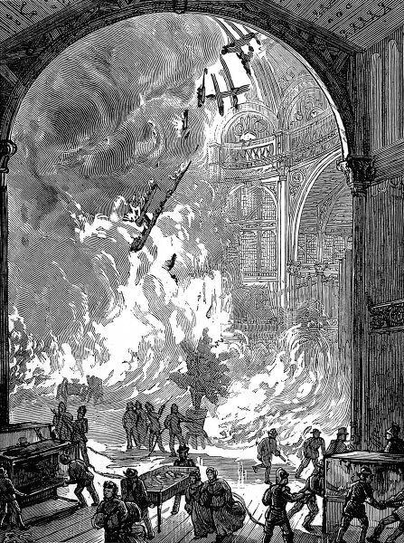 Engraving showing the view inside the Alexandra Palace, Muswell Hill, as the Grand Organ and orchestra was destroyed by fire, June 1873