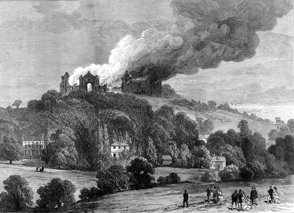 Engraving showing a distant view of the destruction, by fire, of the Alexandra Palace, London, 1873