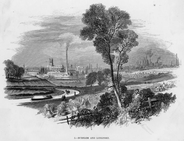 Distant view of Burslem and Longport, Staffordshire, centres of the ceramics industry