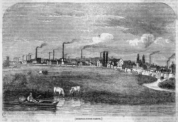 Distant view of Burton-upon- Trent, Staffordshire, justly famed for its breweries