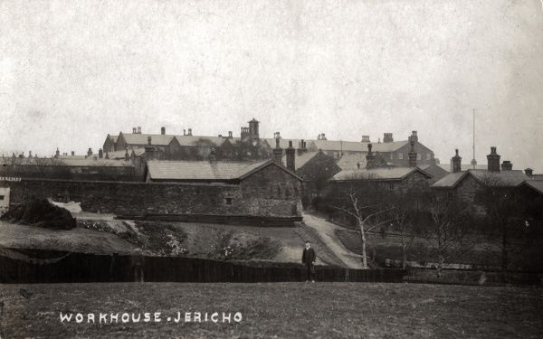 A distant view of the Bury Union workhouse opened in 1857 at Jericho, Bury, Lancashire. The site later became Fairfield Hospital