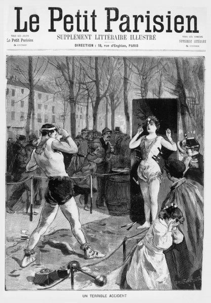 A terrible accident during a street circus act where a knife-thrower misjudges his aim and hits his woman assistant in the head with his throwing hatchet