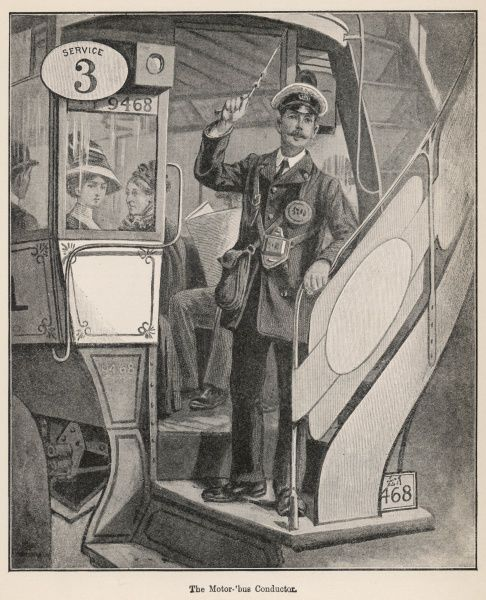 The conductor of a motor omnibus signals to the driver that he may proceed as there are no more passengers desirous of boarding his vehicle