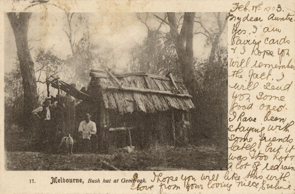 Bush hut at Gembrook, Melbourne, Australia Date: 1903