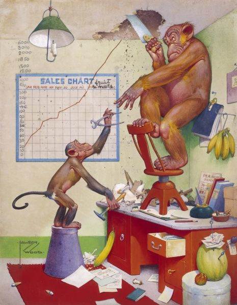 Humorous illustration by Lawson Wood (1878-1957) showing Gran pop the orang utan having to saw a hole in the ceiling to accommodate his ever growing sales projection
