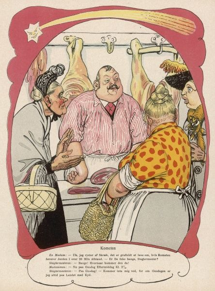 A moustachioed butcher in a red striped shirt serves three rather unattractive ladies who crowd around the cuts of meat