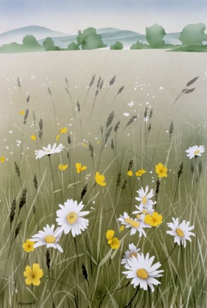 A classic English countryside scene in a summer field with buttercups and daisies interspersed among the wild grasses. Airbrush painting by Malcolm Greensmith
