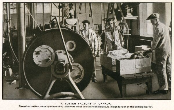 Canadian Butter Factory - producing butter for export to Britain. Date: circa 1930