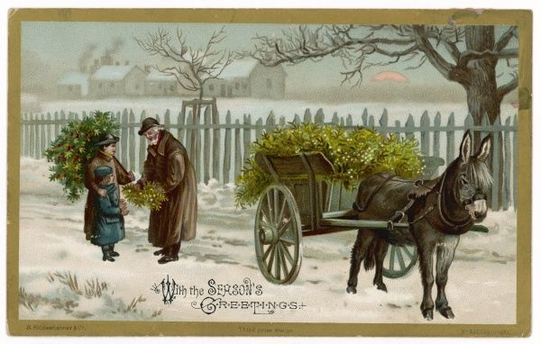 Two children buy decorations from a kindly old man with a donkey-cart, on a snowy afternoon